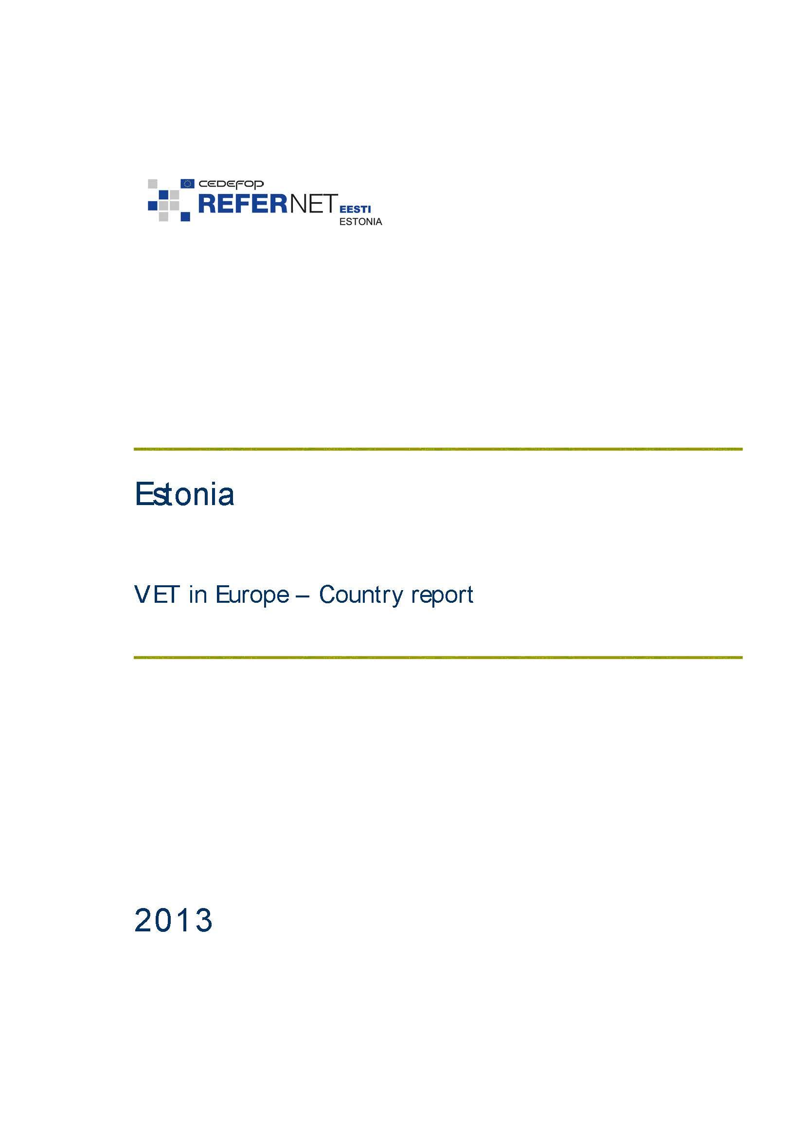 Estonia: VET in Europe: country report 2013