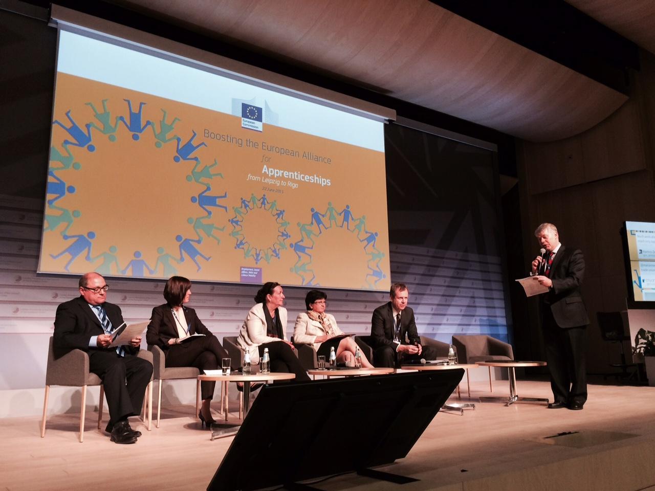 Mr Calleja (left) at the panel discussing apprenticeships