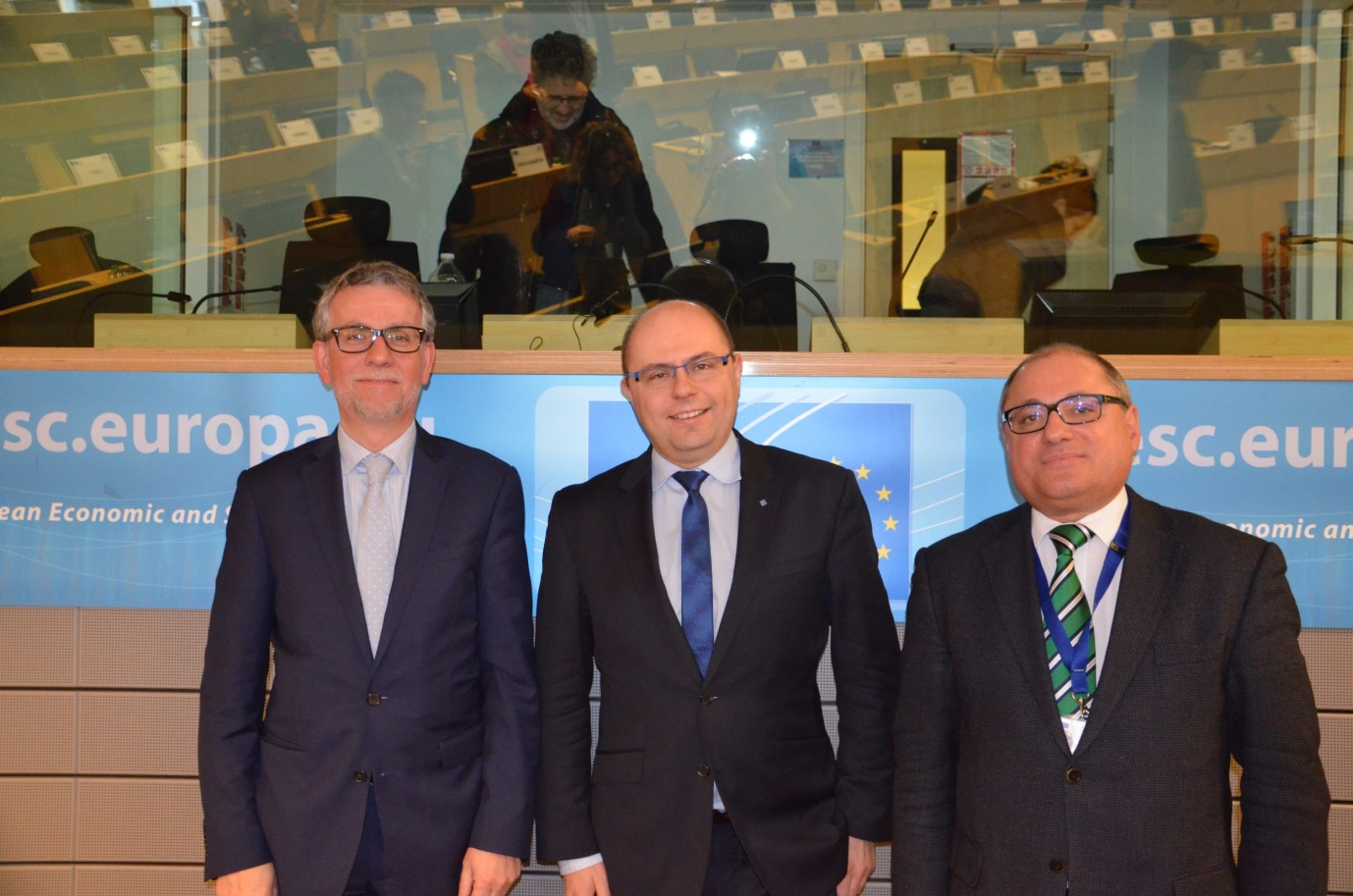 Eurofound Director Juan Menéndez-Valdés, President of the Section for Employment, Social Affairs and Citizenship EESC Pavel Trantina ‎ and Cedefop Director James Calleja at the EESC