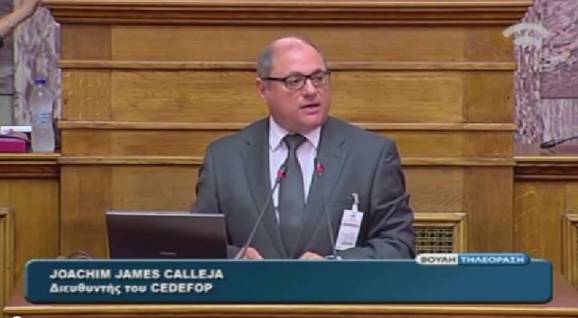 Cedefop Director James Calleja presents the agency at a joint meeting of the Greek Parliament's committees for Educational and Cultural Affairs.