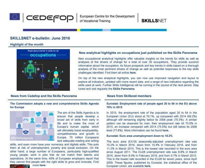 Skillsnet e-bulletin: June 2016 issue