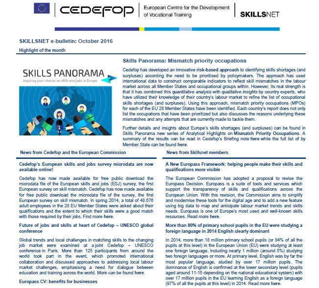 Skillsnet e-bulletin: October 2016 | Skills Panorama