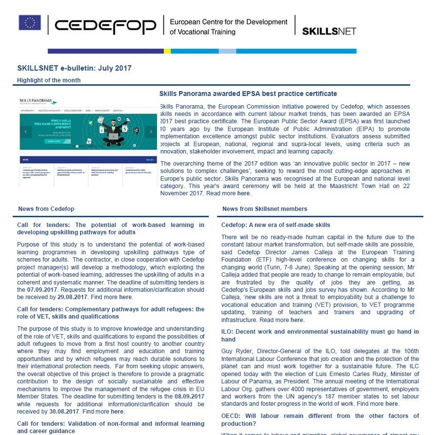 Skillsnet e-bulletin: July 2017