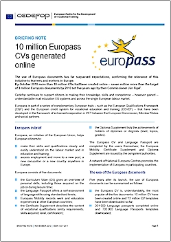 cv en ligne europass Briefing note   10 million Europass CVs generated online | Cedefop cv en ligne europass