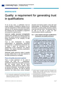 Briefing note - Quality: a requirement for generating trust in qualifications
