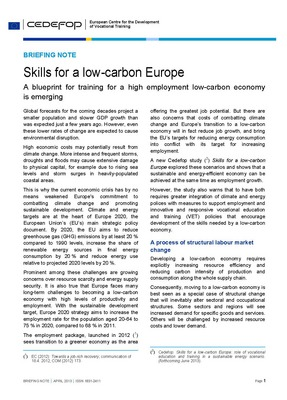 Briefing note - Skills for a low-carbon Europe