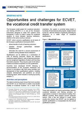 Briefing note - Opportunities and challenges for ECVET, the vocational credit transfer system
