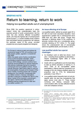 Briefing note - Return to learning, return to work