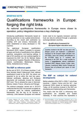 Briefing note - Qualifications frameworks in Europe: forging the right links