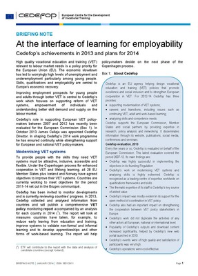Briefing note - At the interface of learning for employability