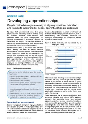 Briefing Note - Developing apprenticeships