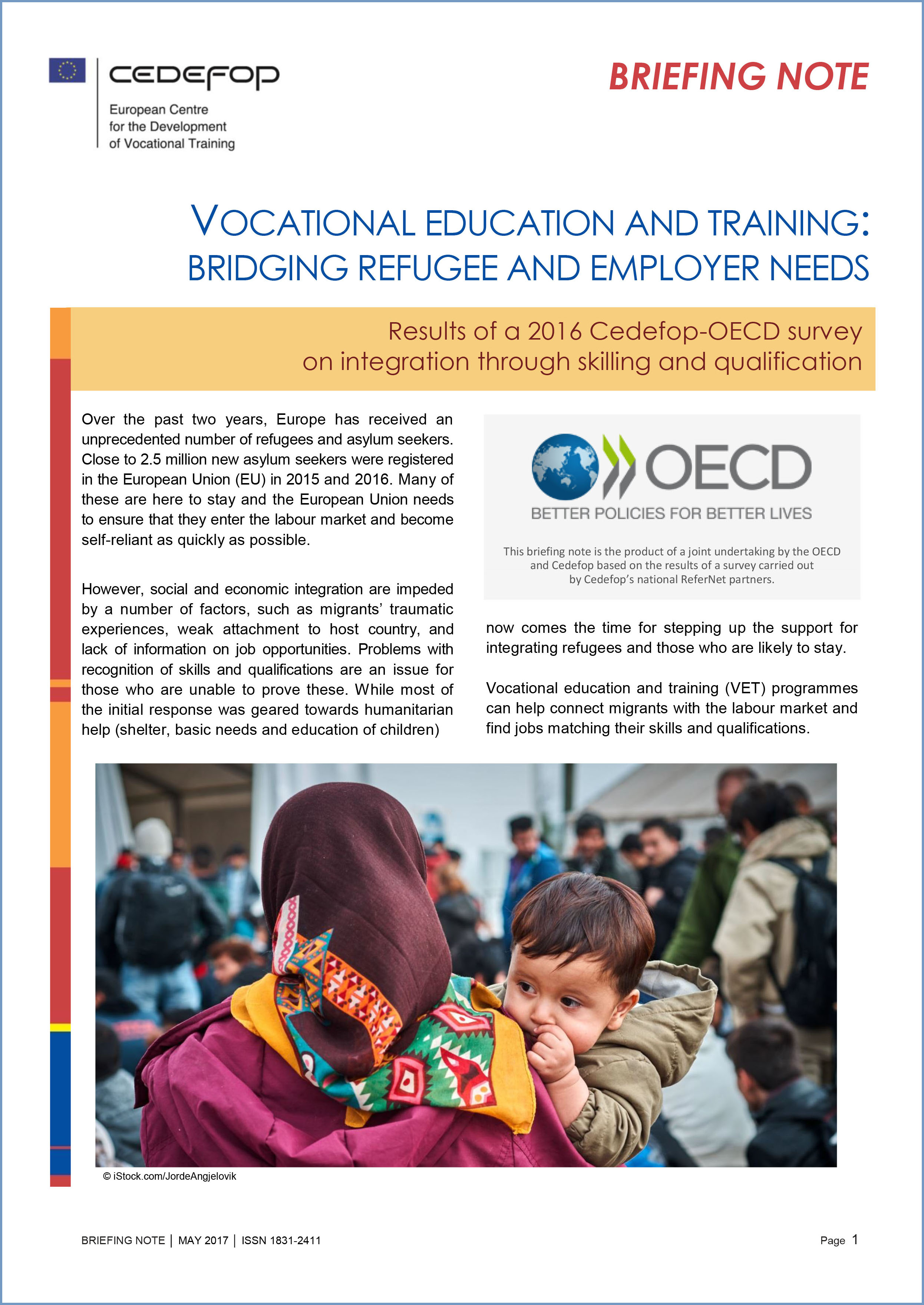 briefing note vocational education and training bridging refugee and employer needs