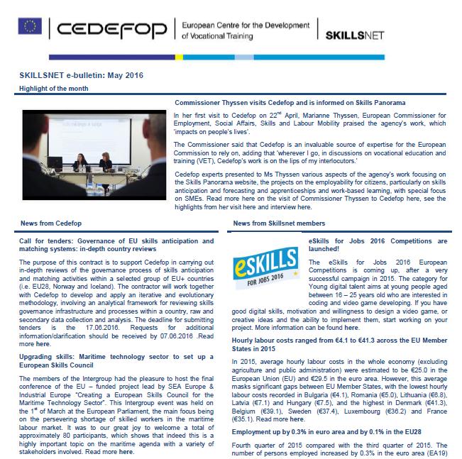 Skillsnet e-bulletin: May 2016