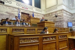 Cedefop Director James Calleja speaking at the Greek Parliament