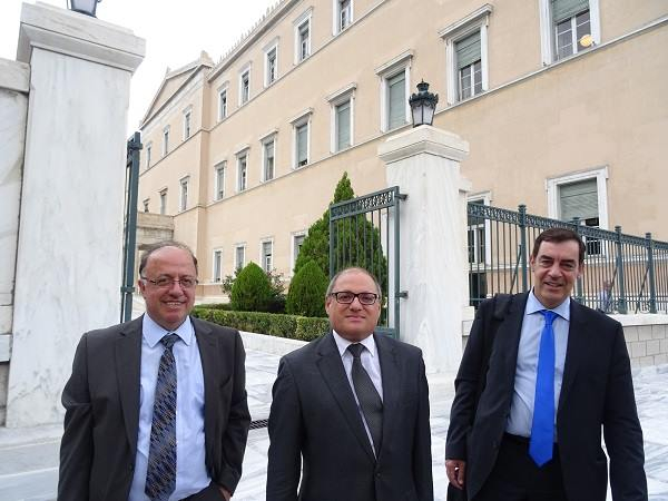 Left to right: Cedefop's L. Zahilas, J. Calleja and G. Paraskevaidis