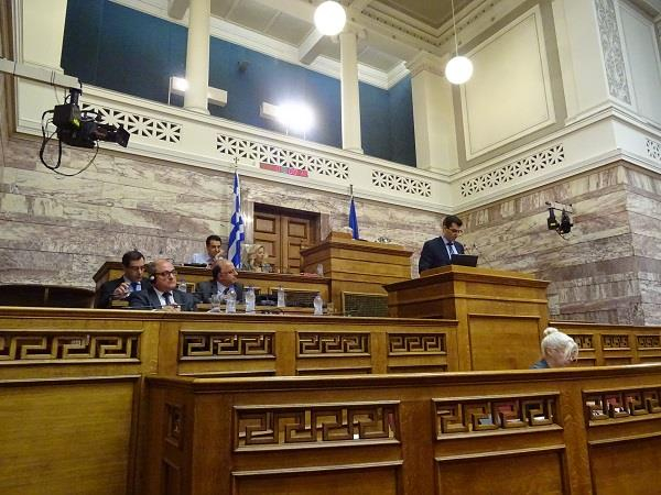 Cedefop's Kostas Pouliakas speaking at the Greek Parliament