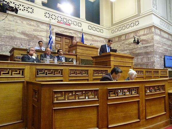Cedefop's George Paraskevaidis speaking at the Greek Parliament