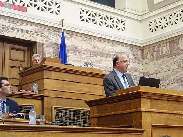 Cedefop's L. Zahilas speaking at the Greek Parliament