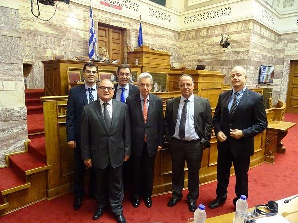 Left to right: Cedefop's K. Pouliakas, J. Calleja, G. Paraskevaidis, Education Issues Committee chair S. Taliadouros, Cedefop's L. Zahilas and L. Tosounidis