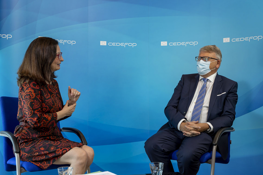 Cedefop press officer Rosy Voudouri interviewing European Commissioner for Jobs and Social Rights Nicolas Schmit