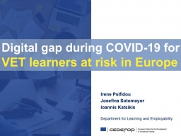 Digital gap during COVID-19 for VET learners at risk in Europe